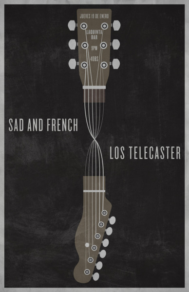 "This is a poster for sad and french and ""los telecaster"" (the telecasters) for their show in caracas, venezuela."