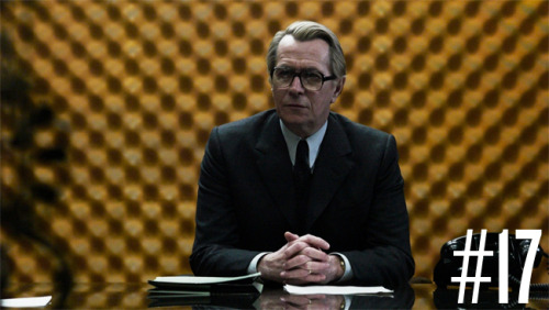 17. TINKER TAILOR SOLDIER SPY (2011) Slick. Very slick. So slick that you might have trouble following the details, but that's part of the fun. One of MI6's best intelligence experts is brought out of retirement to find a high-ranking mole within the organization. I love a good espionage film, especially of the Cold War variety. This didn't let me down. There's a tremendous cast in this (Oldman, Firth, Hurt, Jones, Cumberbatch, Strong, Hardy), but it's Gary Oldman vehicle at the end of the day. His performance is very restrained, slow, methodical, and calculated. As a matter of fact, the film mirrors his performance in this way. It doesn't show off, it doesn't make a spectacle of itself. The film moves at its own pace — slow, orderly, and exact. Some might find this to be irritating, since Ritchie's Sherlock Holmes films give you every single detail on a platter (along with slice-and-dice editing, gunfire and explosions). Tinker Tailor gives you some room to think and fill in some blanks, which I found to be refreshing. A bit of espionage and detective work go a long way. *** out of ****