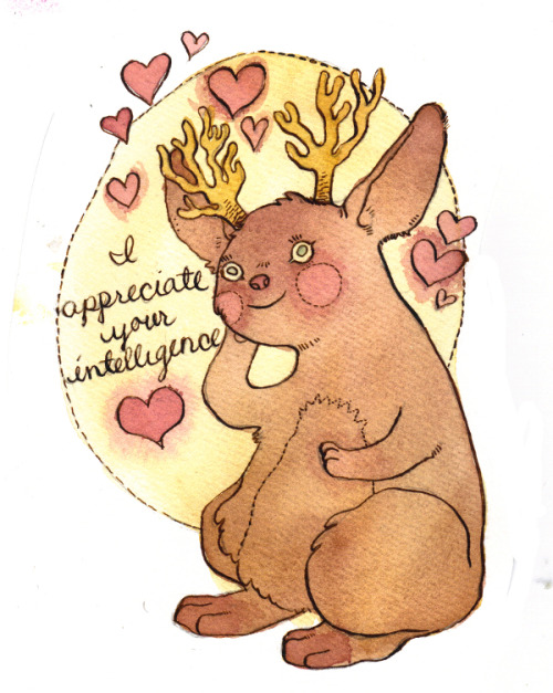 other-side-of-the-universe:  Motivational Crytpid Valentines — Jackalope  Currently for sale on etsy.