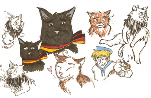 So I found this blog. This was mostly for practice because I don't draw animals often enough but it is also REALLY GOOD if you need a laugh. I've never giggled so much while drawing anything oh my god…Americat what are you DOING… bwuh bwuh befuddled Germouser and Kitannia & Sealand are my favorites. :')