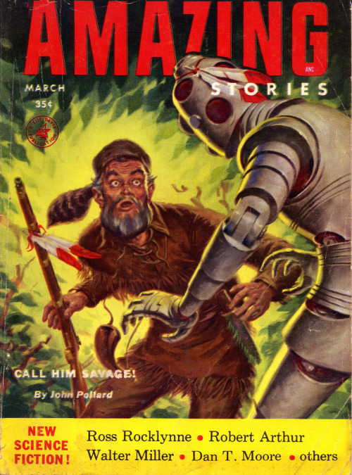 "(by froggyboggler)  ""Amazing"", March 1954. Cover art by Clarence Doore."