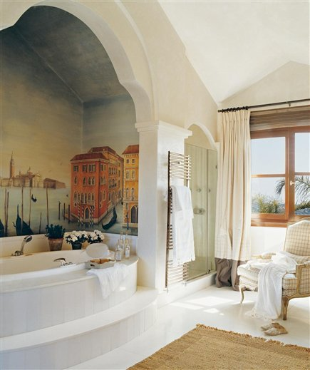 Master bath in a vacation home on the coast of Cadiz, Spain.