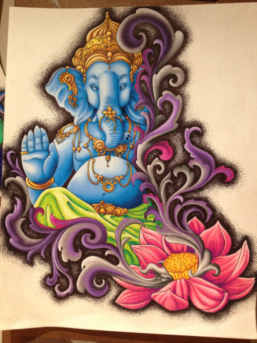 Ganesh! Done in colored pencils, dot work with gel pen.