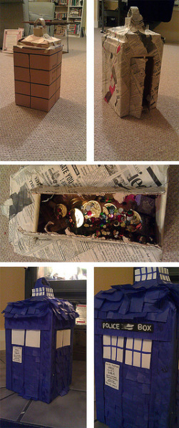 Tardis piñata on Flickr.I'm pretty proud of this piñata, especially since  got it done hella fast (kinda have been a hardcore procrastinator lately) so it could be done in birthday time. I hope the weather cooperates in letting us smash this thing apart tomorrow. (Zaf, do you have a hitting stick and/or somewhere to hang this? I have rope)