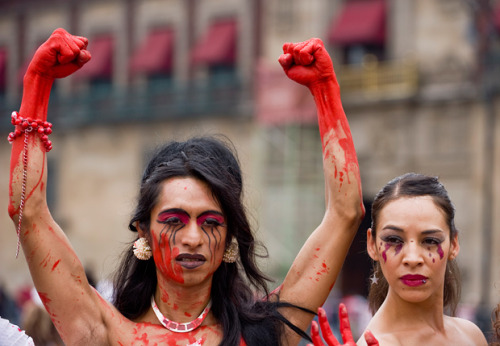 deafmuslimpunx:  pretendpagan:  Trans* activists in Mexico City, protesting violence against the LGBTQ community.  damn