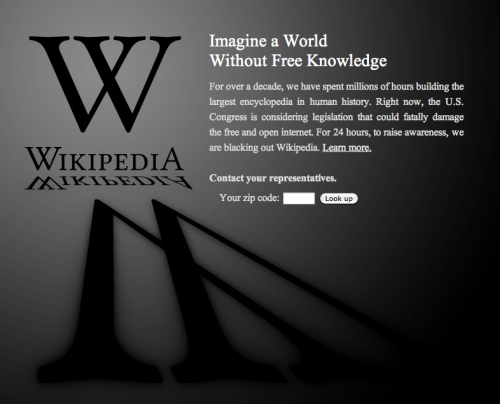 Wikipedia goes dark. SOPA!