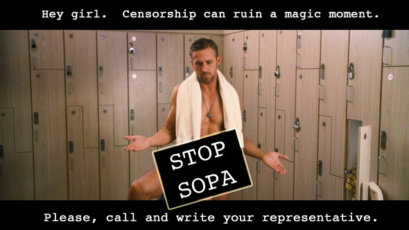 siliconvalleyryangosling:  Hey girl.  Censorship can ruin a magic moment.  STOP SOPA.  Please call and write your representative. Click here for more SVRG on SOPA.