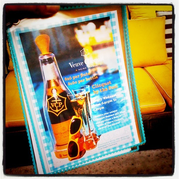 My Veuve Clicquot product shot on the Ivy Pool menu… (Taken with instagram)