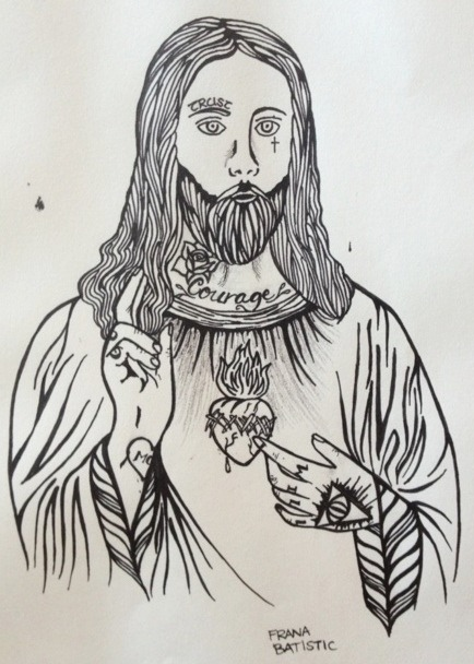 'Isuse Kriste (Jesus Christ)'Frana BatisticPen on paper2012  I really love religious art and religious style tattoos, even though i'm not religious myself, so i wanted to do a drawing of one of the most famous religious figures, just with a little twist of mine. In this artwork, i gave Jesus some pretty cool tattoos: 'Trust' above his right eye A cross beneath his left eye 'Courage' on his neck A rose on his neck 'Gods Will' on his knuckles The Eye of Providence on his left hand 'Mom' inside a love heart on his right wrist