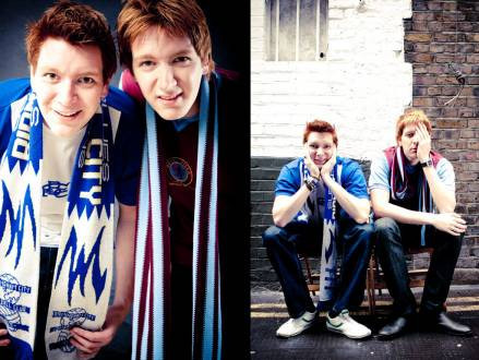 James and Oliver Phelps who play Fred and George Weasley in the Harry Potter movies. James supports Birmingham City while Oliver supports Aston Villa.