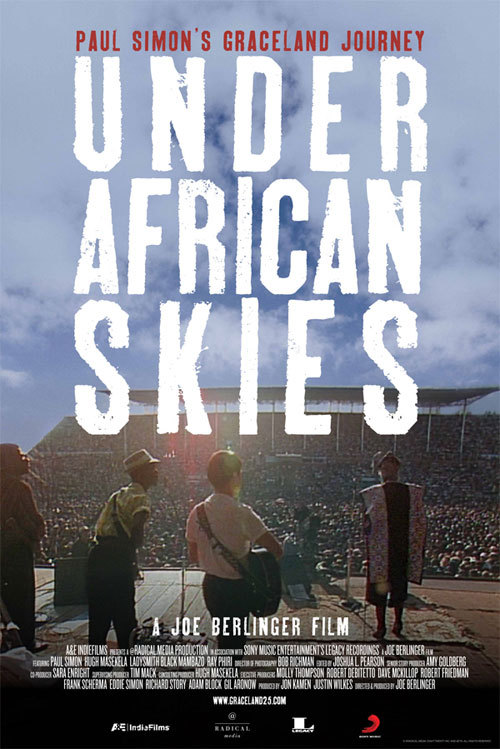 Paul Simon: Under African Skies, a new documentary chronicling the making of Simon's 1986 multi-million-selling Graceland, will premiere at the Sundance Film Festival on January 22. Director Joe  Berlinger - the man behind Metallica's Some Kind of Monster - follows Simon as he returns to South Africa to celebrate the 25th anniversary of the Graceland recording sessions. Under African Skies also features interviews with key anti-apartheid  activists of the time and a host of musical luminaries such as Quincy Jones, Harry  Belafonte, Paul McCartney, David Byrne and Peter Gabriel. The documentary will also be included on the 25th anniversary deluxe editions of the album, due for release later this year.