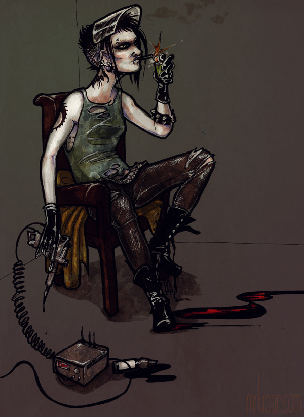 Fanart of Lisbeth Salander, for my review of the US remake of The Girl With The Dragon Tattoo for Bad Reputation. Ink on card, colour on Photoshop 7.0