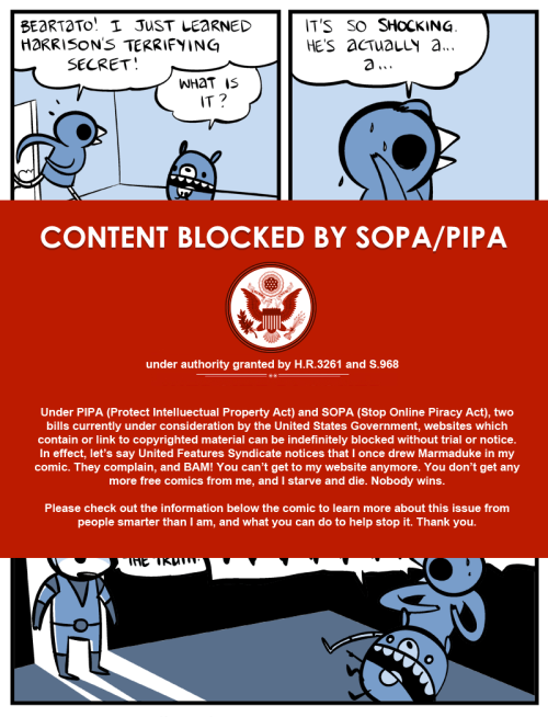 "Nedroid says: ""Don't let SOPA become law! Write your congressman!"""
