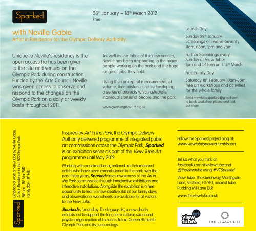 The exhibition flyer for Neville Gabie's Sparked exhibition as part of View Tube Art, opening Saturday 28th January, with screenings of the film TwelveSeventy on Sunday 29th January at 11am, noon, 1pm and 2pm. Stay tuned for more information about the family day on Saturday 18th February.