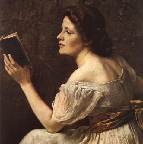 Mary Wollstonecraft reads (in a portrait by Otto Scholderer).