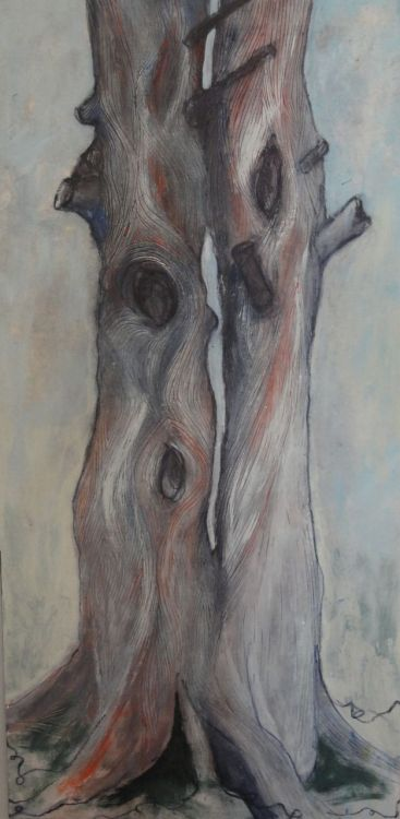 "Tree Love / 12"" x 6"" / acrylic on panel board © Holly Friesen"