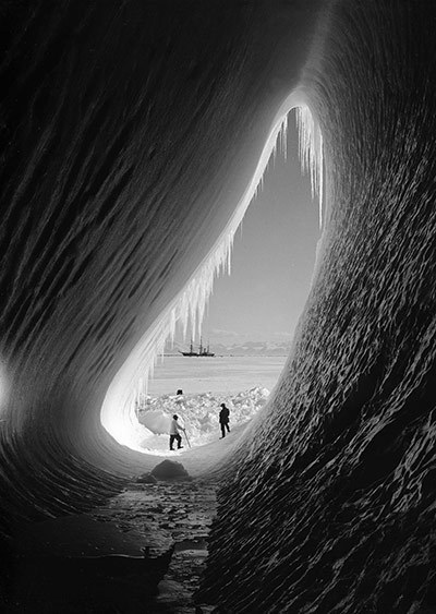 Photograph: Herbert Ponting/Scott Polar Research Institute/Getty Images A view inside an ice grotto showing the Terra Nova in the distance - a gallery of pictures from Captain Scott's expedition to the South Pole to mark the centenary of the event