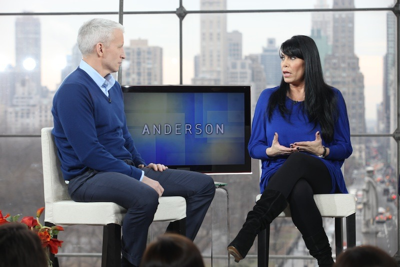 "anderson:  Anderson on set with Renee Graziano, one of the stars from VH1's reality show, ""Mob Wives."" [Wednesday's Show]   Are you ready for Mob Wives on Anderson?"