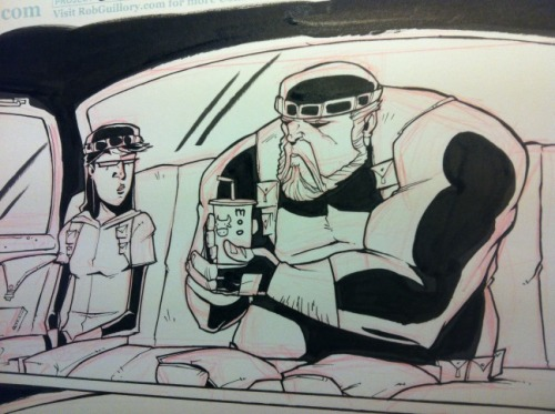 Ink progress on yesterday's panel. CHEW #24.
