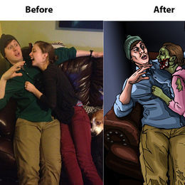 Show your girlfriend you love her with a custom, made-to-order zombie portrait.