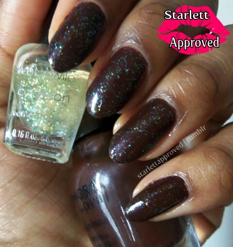 Sephora by OPI Studs and Stilettos is like Chocolate Syrup dipped finger nails lol. Wanted to nibble on my finger tips.  In love with this Wet n Wild coloricon mini, I don't know it's name but it's amazing!! The glitters look blue from one angle, orange and green in other angles.  It's so subtle and went perfectly with the brown.