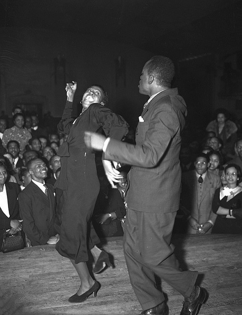 Dancing with the Stars | 1938 on Flickr.A African American couple dancing their derrieres off :-) at a Central Avenue nightclub, Los Angeles, 1938. Credit: Los Angeles Times photographic archive, UCLA Library. Copyright Regents of the University of California, UCLA Library. Find Us On Twitter | Facebook | Tumblr