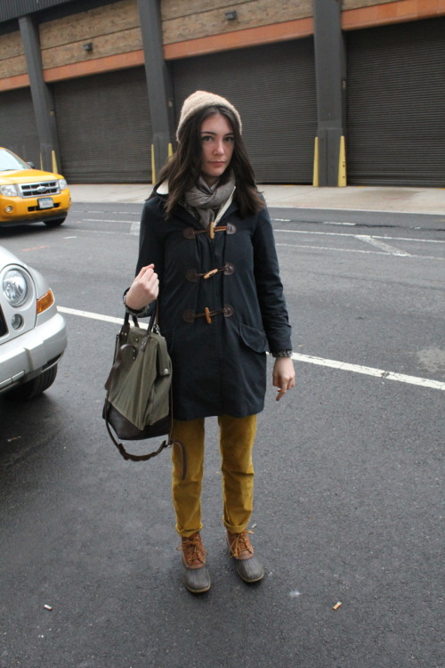 mypantalones:  This was my favorite women's look I saw at my time at (capsule). Her outfit was awesome, and it didn't hurt that she was beautiful as well. We were both rocking Bean Boots, so I was going to go strike up a conversation and compliment her on her footwear. However, I just remained behind the camera.