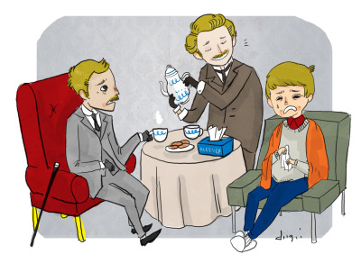 sherlockholmesanddoctorwatson:  raonndx:   Watson support group!  WastonBBC: I shoulda stayed with the bloke y'know. Watson2009: How long did it take before he came back? WatsonGranada: Boys…he'll turn up soon, a little patience…     Oh, BBCWatson is a little nugget. GranadaWatson's just like, he'll be back, calm down.