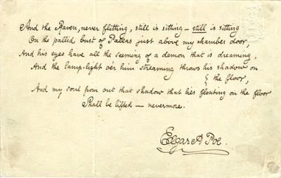 Handwritten last stanza of The Raven, a poem by Edgar Allan Poe.