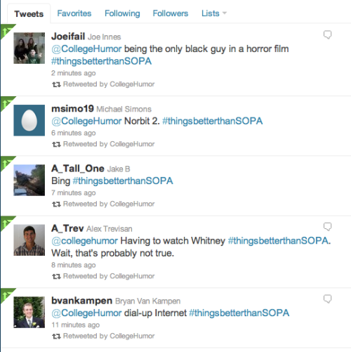 Head over to Twitter to help us play #thingsbetterthanSOPA  We're RTing our favorites.