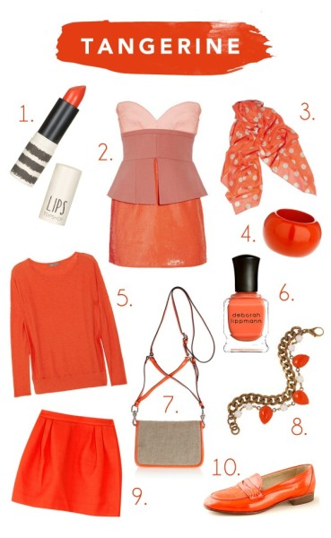 Tangerine Tango is the new color of the year according to Pantone. Accents of light and darker shades are popping up in all sorts of accessories and apparel.