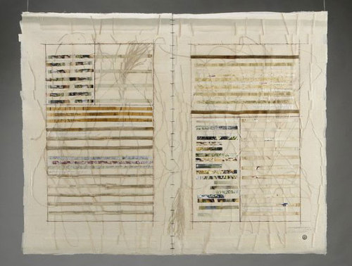 "tumbleword:  Ellen Kochansky Pattern Language Scraps of old projects form the most fertile compost for my recent work. Many inspiring leftovers from the past 20 years are captured here, part of the handwritten saga. The many layers of glued silk approximate parchment, but no goats died, only silkworms. Silk organza (12 layers), bookbinders glue, found materials, linen thread.  48""w x 38"""