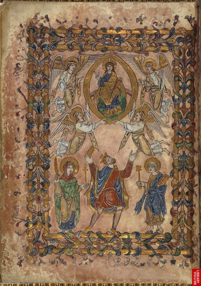 The British Library 'King Edgar before the Heavenly King' This charter, presented unusually in the form of a richly illuminated  book, commemorates the introduction of Benedictine rule in 964 at New  Minster, Winchester, by King Edgar. Flanked by New Minster's patron  saints, Edgar offers this book to Christ, enthroned above and held aloft  by angels. Though the painting emphasises the splendour of the heavenly  and earthly figures, Edgar subordinates himself to Christ here and in  the accompanying gold-lettered inscription: 'Thus he who established the  stars sits on a lofty throne. King Edgar, prostrate and venerating,  adores him.' The New Minster Charter Winchester, 966 Presented to the nation in 1702 Cotton Vespasian A. viii, f. 2v © The British Library Board  The Christian Monarch 700-1400 The  manuscripts in this section span the history of England from a century  after the Anglo-Saxons' introduction to Christianity to the late Middle  Ages. [22 items]