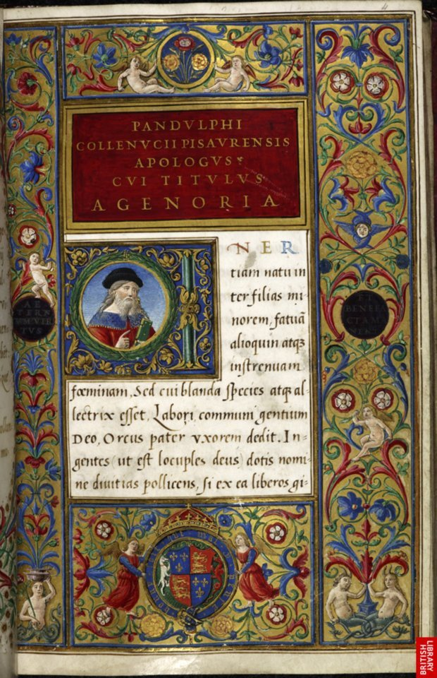 The British Library 'A Humanistic Gift for Henry VIII' Geoffrey Chamber, Surveyor-General at Henry VIII's court, commissioned  this opulent humanistic manuscript in Italy as a gift to the King. He  engaged some of the most renowned Italian craftsman of the day to do the  work. A scribe of the papal chancery, Ludovico Vicentino degli Arrighi  wrote the text and the famous Florentine illuminator Attavante degli  Attavanti adorned it with borders and initials. The text opens with a  portrait of the author and an elaborate border, containing the arms of  Henry VIII. Pandolfo Collenuccio, Apologue, and Lucian of Samosata, Dialogues Rome and Florence, c. 1509–17 Made for Henry VIII Royal 12 C. viii, f. 4 ©The British Library Board
