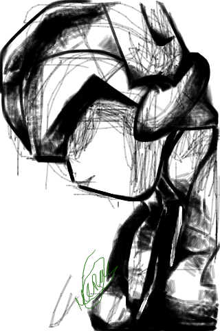 model-h:  Having fun with drawing app for android. So much like traditional media, kinda. No layers. Makes me happy. Hard to paint with fingers, though. Especially with this testy app. The sketch tool reminds me of charcoal. Anyway, on phone. Mom has taken the desktop for herself (jerk) so I wont RP or anything until she is done with whatever she is doing in farmville of all places.