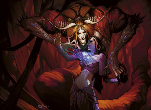 Liliana learned the secrets she sought, but at a price that was etched on her fate.  Demonic Tutor | Art by Scott Chou