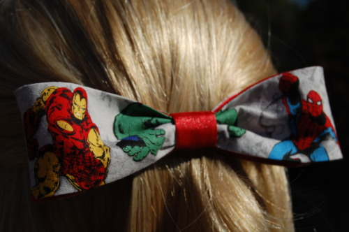 I just started making bracelets to match the Marvel hair accessories I've been selling at my Etsy shop.