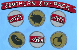 Illustration for the Southern Six-Pack of the Southern Foodways Alliance
