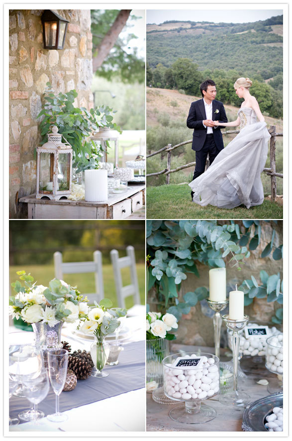 Tuscany wedding with a Vera Wang Dress