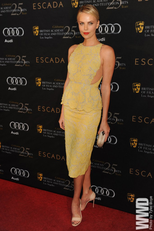 Charlize Theron in Stella McCartney at BAFTA's annual Tea Party at the Four Seasons Hotel at Beverly Hills