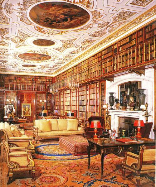 The largest and most ornate of the six libraries at Chatsworth House in Derbyshire, England. It is the largest private library in England with almost 27,000 books collected during several centuries. (via English Country House Libraries, page 5)