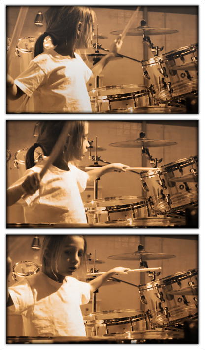 Everly Bear Kiedis playing drums in the Look Around Music Video. View the full behind the scenes video with RHCP's new Smartphone Application for iPhone and Android.