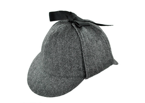 Grey Herringbone deerstalker hatAs worn by/given to Sherlock in Series 2Satin lining. Grosgrain ribbon. 100% wool.$34 Available here at villagehatshop.com £22 Available here at hatsandcaps.co.uk