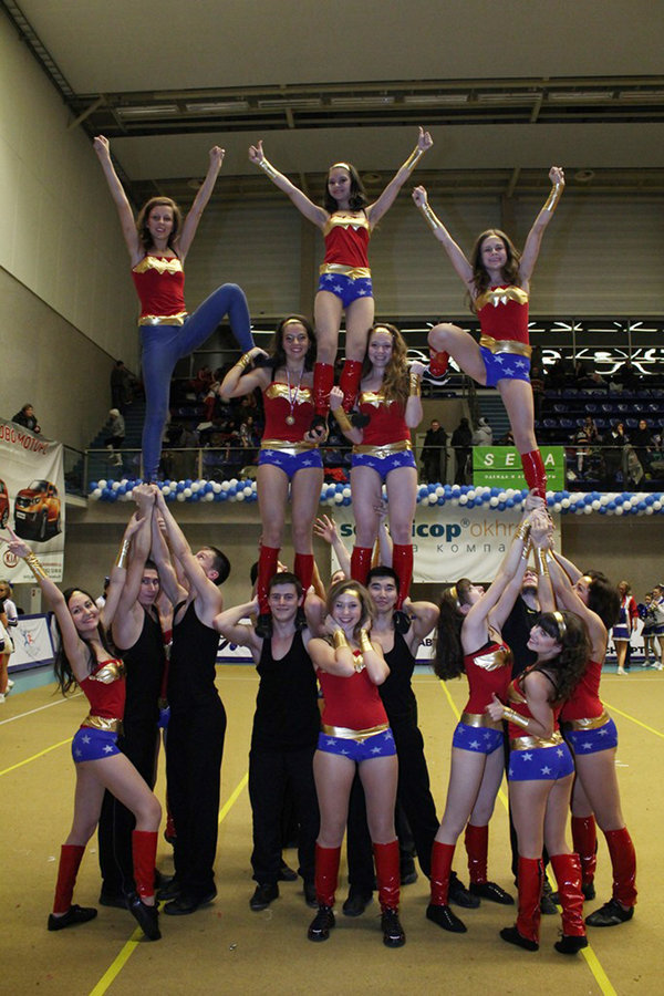 Two things I love, combined in one: Wonder Woman costumes Cheerleaders.