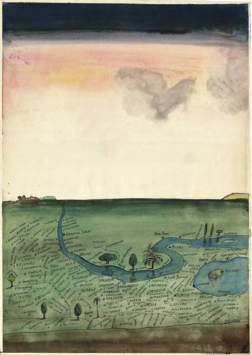 "austinkleon:  Saul Steinberg, Autogeography, 1966 (via) From ""Descent from Paradise: Saul Steinberg's Italian Years"":  For most of his adult life, Saul Steinberg (1914-1999) drew maps—maps of real or imaginary locations, maps of words and of concepts. Often the maps are of actual places refracted through the artist's mental constructs, as in View of the World from 9th Avenue, his famous March 29, 1976 New Yorker cover, which, reprinted as a poster, copied, and appropriated for many other cities of the world, became his personal nightmare; even today, it remains the icon that most easily identifies him. There is, however, another splendid map, completed ten years earlier; although intended for The New Yorker, it was never fully published in Steinberg's lifetime. Entitled Autogeography, it is a bird's-eye view of a green territory dotted with the names of many locales, large and small, from every corner of the world. A very blue, winding river flows through the territory, and on the bottom right it skirts a small lake with an island. On the island is the word ""Milano,"" while on the shore northeast of the island we find a locality named ""Tortoreto (Teramo)."""