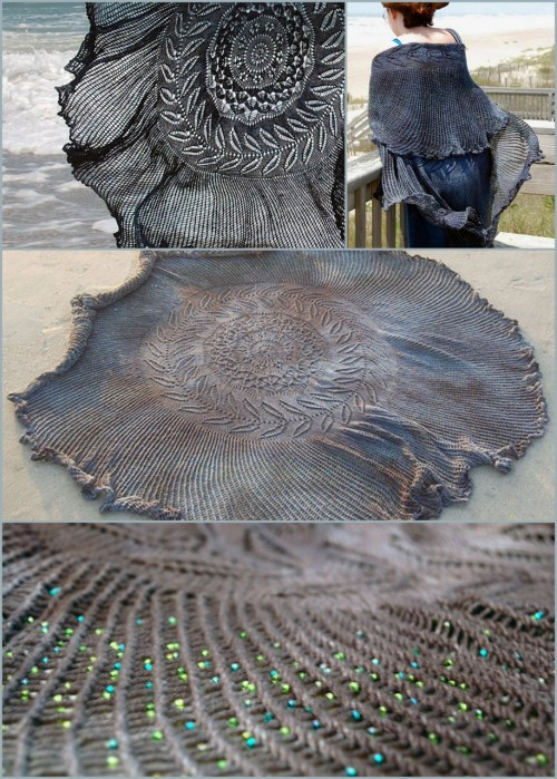 truebluemeandyou:  DIY Free Pattern Shipwreck Shawl. Reblogged from someone else earlier, but I always wanted to show the different angles of this amazing scarf with 5000 optional Czech glass seed beads. Designed and modeled by Bethany Kok. Free Pattern with tons of advice from Knitty here ie placing of the beads, dyeing etc… *Not for the faint of heart.   Oh my, this is amazing!