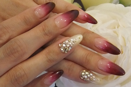 Give me a burgundy gradation with diamond clusters any day!