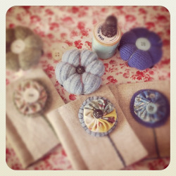 Pincushions and needlebooks. by heylucy on Flickr.