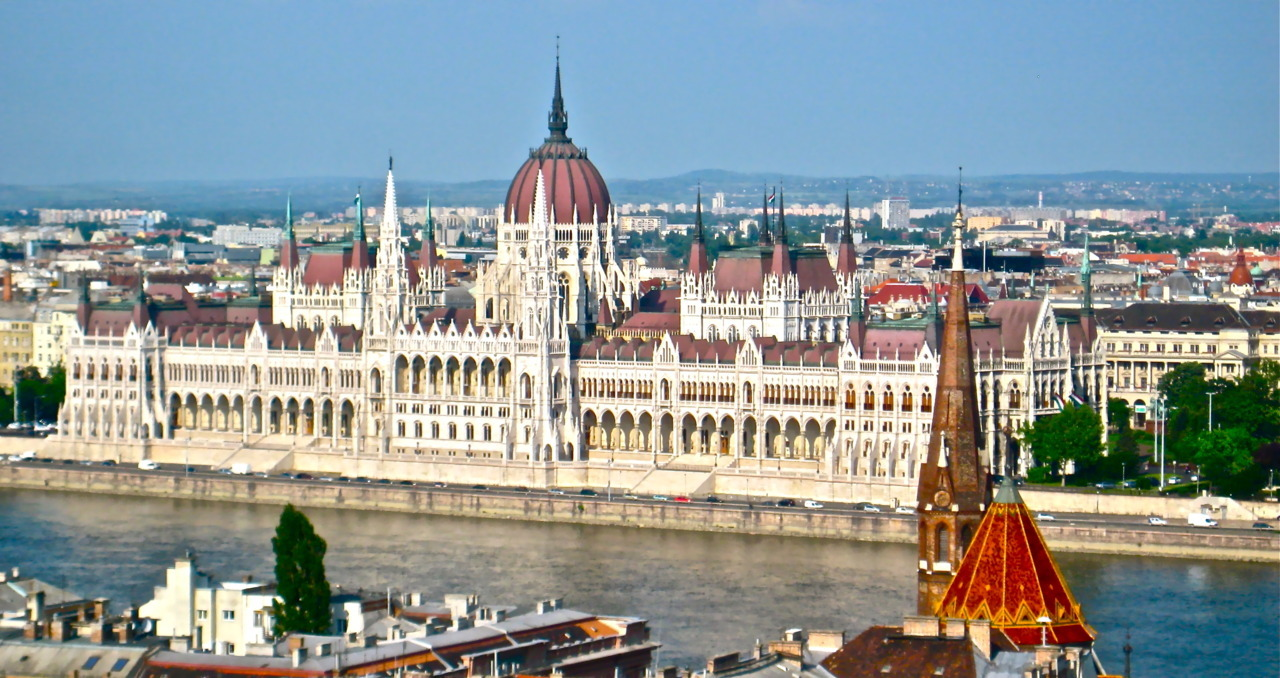 Hungarian Parliament in Budapest, view from across the river.  Photo by me this past May.