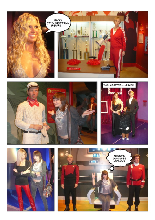 Our Hollywood tour gave us free passes to Madame Tussauds Wax Museum so we had some fun checking them all out. The strangest thing was seeing the height difference & size of everyone. Some also had horrible hair. Hugh Jackman was blonde! Couldn't believe how quickly they put up Glee's Sue Sylvester into the museum. Yes, she is very tall.  Also couldn't believe that spiffy Humphrey Bogart wasn't dressed up for Casablanca. Ingrid Bergman sure was. Seriously, why wouldn't you want to create that classic airplane scene? I was not impressed. Apparently Brad & Angelina adopted a new child, Buffy's scooby gang added a new member, & Star Trek bent time & space to bring this trio together. -Cory U